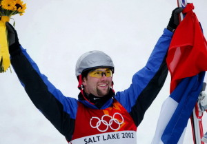 VALENTA OF CZECH REPUBLIC CELEBRATES AFTER GOLD MEDAL IN MENS FREESTYLE SKIING AERIALS